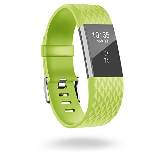 Fitbit Charge 2 Band,Silicone Sport Wristband with Secure Metal Buckle Clasp for Fitbit Charge 2 Replacement Wristbands Small 5.5-7.2 Inches Lime Green (Hr Womens Green)