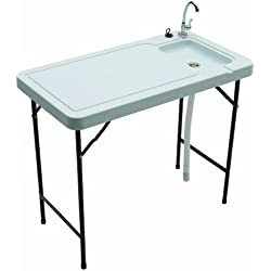 Tricam Outdoor Fish and Game Cleaning Table with Quick-Connect Stainless Steel Faucet, 150-Pound Load Capacity