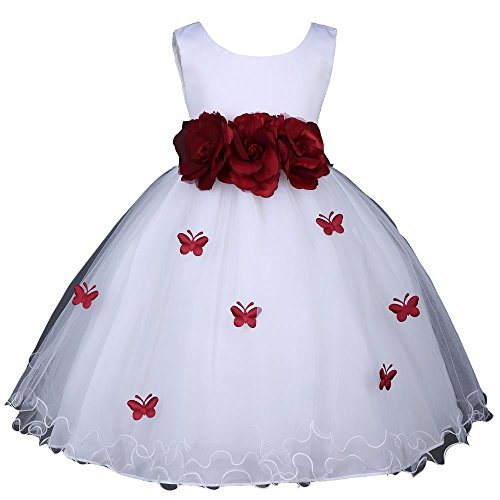 Prince Lover Flower Girl Wedding White Easter Ruffled Tulle Butterfly Petal Dress