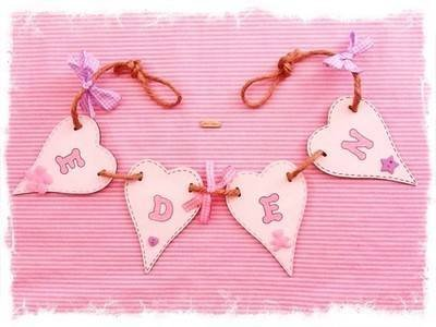 Yorkshire Craft Creations Shabby Chic Girls or Babies Gifts Wooden Name Bunting Personalised Letters Handmade Pink