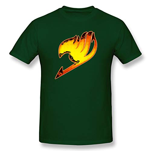 VJJ AIDEAR Collection of Fairy Tail Logo 100% Organic Cotton Short Sleeve Tshirts for Men Forest Green 34