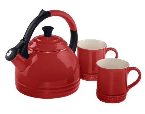 Le Creuset Enamel on Steel Kettle and Mug Gift Set, Cerise (Cherry Red)