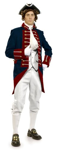 [Unisex Adult American Revolution Soldier Revolutionary War Uniform Large Multi] (Haloween Adult Costumes)