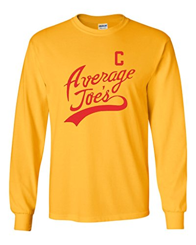 Average Joe Halloween Costume (Long Sleeve Adult T-Shirt Average Joe's Movie Costume Dodge Ball Halloween DT (Large, Gold))