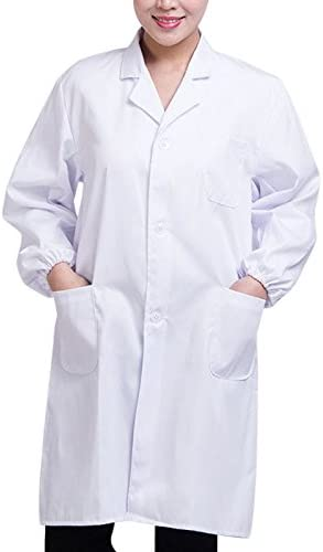 Dastrues Man Woman Coat Blouses Chemistry Long Sleeve White Lab Coat Doctor Hospital Scientist School Fancy Dress Costume Laboratory Garment Uniform for Students Adults Professional Technician Nurse