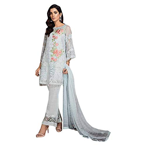 (SkyBlue Georgette Designer Straight Salwar suit Muslim Cocktail Indian Party wear Pakistani Women dress 7621 )