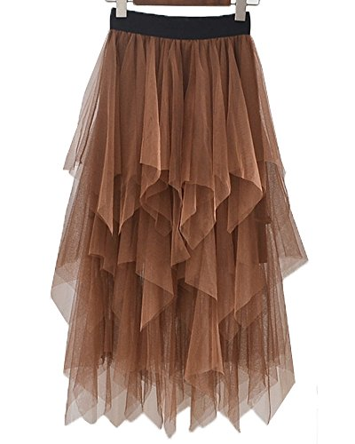 Onlybridal Women's One Size High Low Asymmetrical Tulle Tea-Length Skirt (One Size, Brown)