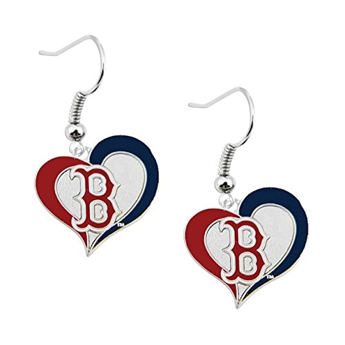(Boston Red Sox Swirl Heart Earrings)