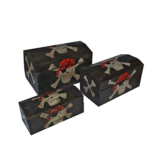 Large Collectible Wooden Pirate Treasure Chest Gifts Tresure Jewelry Box Set of 3 Nesting Vintage Boxes Cofres De Madera Wooden Unfinished Chest Treasure Box Kids, Boys, Girls Adults Men Hand Painted