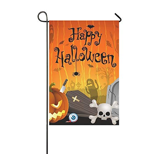 WBSNDB Home Decorative Outdoor Double Sided Halloween Pumpkins Cemetery Place Text Garden Flag,House Yard Flag,Garden Yard Decorations,Seasonal Welcome Outdoor Flag 12 X 18 Inch Spring Summer Gift]()