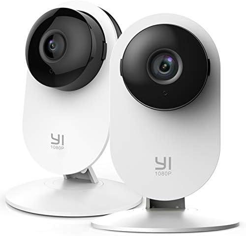 YI Home Camera 1080p 2 stuks IPcamera WiFi bewakingscamera met bewegingsdetectie pushmelding tweewegaudio nachtzichtfunctie smart camera voor telefoons iOS en Android