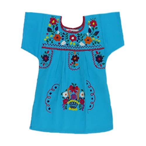 (Mexican Clothing Co Baby Girls Mexican Dress Traditional Tehuacan Poplin CT NB Blue 9288)
