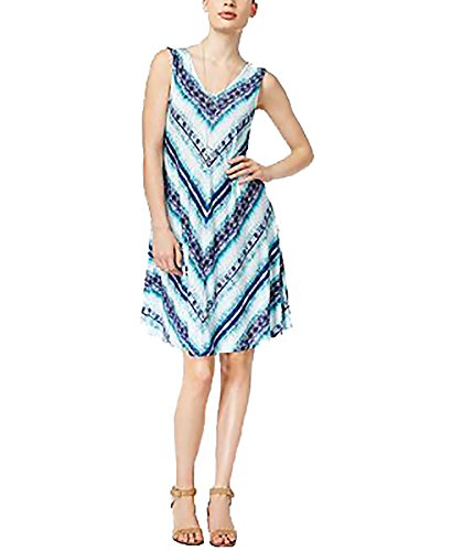 (Style & Co. Petite Printed Cross-Back Shift Dress (Endless Summer, PL/Petite Large))