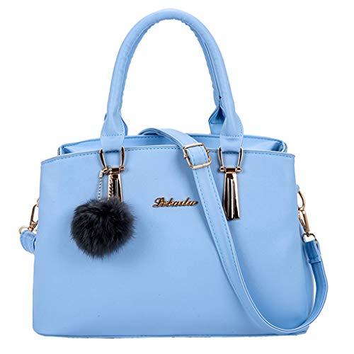 Dodumi Bandoulière Femme mode Solide tout sacs Soldes Sacs Fourre Ciel Guess Femmes A Main Sac À Hairball Couleur Femme Bleu Vintage rqgr1wnWF