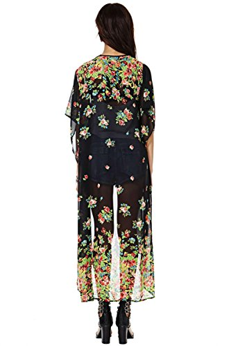 Kimono-style Dressing Gown Wide Mid-sleeve Floral Print Chiffon Top Black Thin Long Cardigans Button-free (L)
