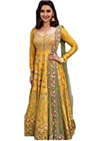 new anarkali salwar suit set for women for party wear | gowns for women party wear | wedding wear-391( yellow color free size)