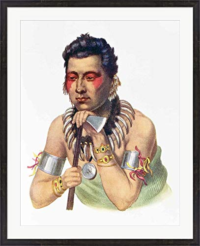 Young Ma-Has-Ka, Chief of The Iowas Framed Art Print Wall Picture, Espresso Brown Frame, 35 x 43 inches