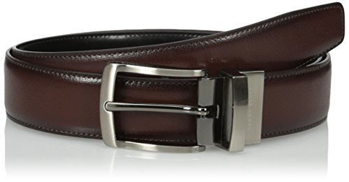 Perry Ellis Men's Perry Ellis Men's Burnished Edge Belt, Brown/black, 30