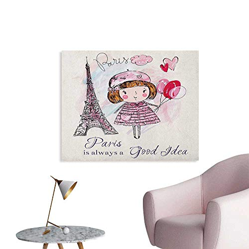 Anzhutwelve Paris Corridor/Indoor/Living Room Little Girl Holding Balloons Hearts a Cloud and Eiffel Tower Illustration The Office Poster Pale Pink Purple White W28 xL20]()