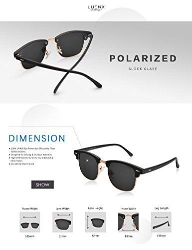 LUENX Men Women Clubmaster Polarized Sunglasses:UV 400 Protection 51MM with Case (23 Black(Matte Frame)/Non-Mirror, 51) by LUENX (Image #4)