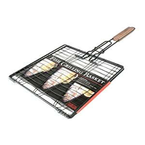 Charcoal Companion Triple Fish Grilling Basket / 11 by 11 inches – Barbecue Fish Easily