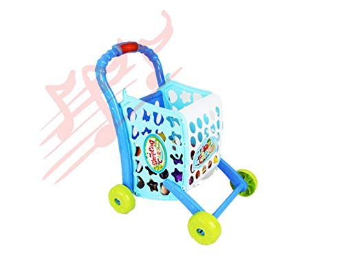 MeeYum Kids and Toddlers Pretend Play Mini Supermarket Shopping Cart Playset Kitchen Toys W/ Food, Money, Light and Sound