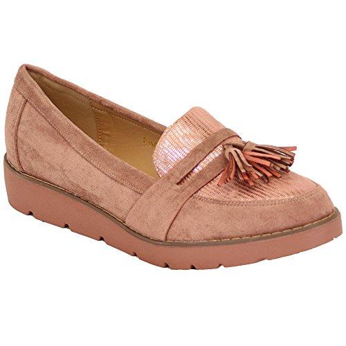 Damen Pink Wildleder Fringe Damen Y58 Look Slip Party Quaste Wedge Vintage Schuhe Müßiggänger On d7xXUx6