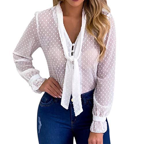 Pengy Women Dot Long Sleeve Top Sexy Chiffon Sheer T-Shirt Mesh Tieup Through Top Shirt Blouse White ()