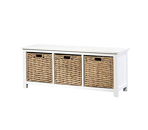 (Wood & Style Furniture Cottage Road Bench with Baskets L: 43.94