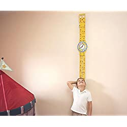 Creative Kids Growth Chart with Teaching Clock by ZYX Kids Co. | Fun Childrens Growth Charts & Educational Clocks | Kid Wall Clock | Child Growing Chart | Large Watch Wall Clock for Toddlers | Yellow