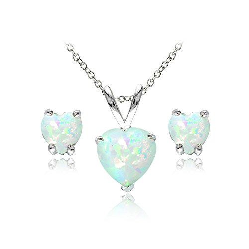 GemStar USA Sterling Silver Simulated White Opal Heart Solitaire Necklace and Stud Earrings (Post Heart Shaped Opal Earrings)