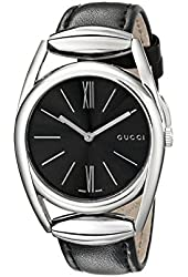 Gucci Women's YA139401 Gucci Horse-Bit Collection Analog Display Swiss Quartz Silver Watch