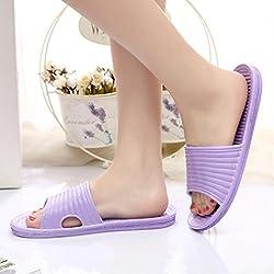 Tenworld Women's Anti-Slip Shoes Shower Slipper Comfort Slip On Slide Sandals (7, Purple)