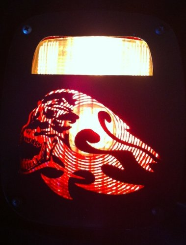 JeepTails Flaming Demon - Jeep YJ Wrangler Tail Lamp Covers - Black - Set of 2