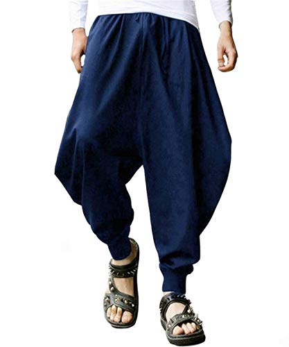 PERDONTOO Men's Casual Elastic Waist Baggy Hippie Yoga Harem Pants (29, Blue)