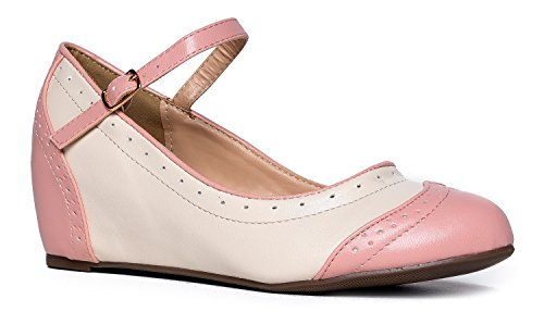 J. Adams Ankle Strap Mary Jane Wedge - Round Toe Retro Shoe - Cute Vintage Oxford - Minnie