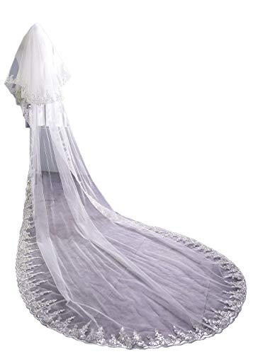 (Cibelle Two Layers Lace Tulle Sequins Bridal Veil Wedding Veil with Metal Comb Ivory)