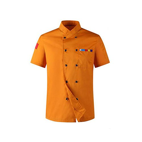 (Desirca 2018 Chef Uniforms Clothing Long&Short Sleeve Men Food Services Cooking Clothes 5-Color Uniform Chef Jackets Orange XXL)