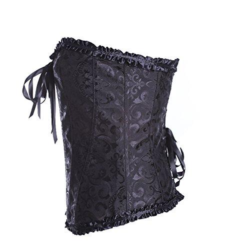 E-SHINE CO De la Mujer Cinturilla cors¨¦ deshuesado con Brocade Negro 1