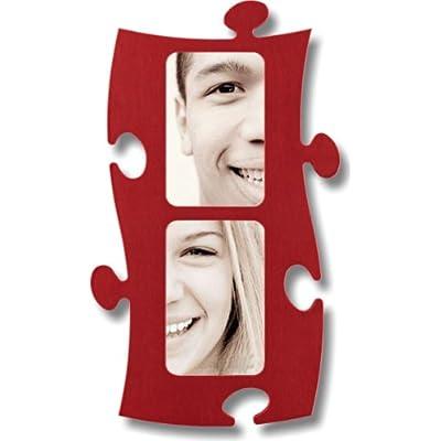Cornice A Forma Di Puzzle 2 Volte 10x15cm Rosso