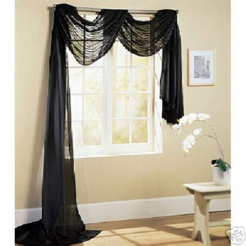 Comfy Deal Beautiful Elegance Fully Stitched Window Sheer Voile Scarf Curtain (Black) (Scarf Valance Black Sheer)