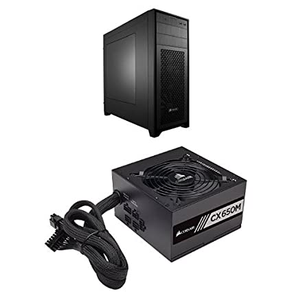 Corsair Obsidian Series Black 450D High Airflow Mid-Tower Computer Case and  CORSAIR CXM series CX650M 650W 80 PLUS BRONZE Haswell Ready ATX12V &