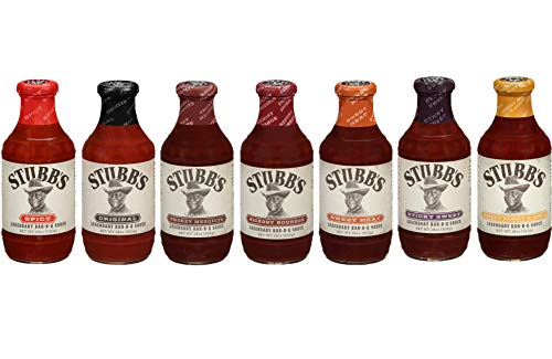 Stubbs BBQ Sauce Variety Pack, Gluten Free, No High Fructose Corn Syrup, 18 Oz, Pack of 7