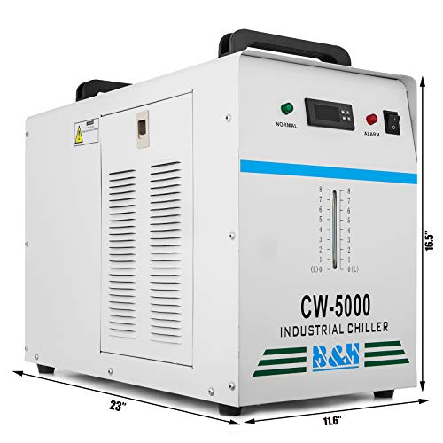 Happybuy Water Chiller CW-5000DG 6L Capacity Thermolysis Industrial Water Chiller 800W Cooling Industrial Chiller for 80/100W CO2 Glass Tube Energy Saving (6L CW-5000DG)