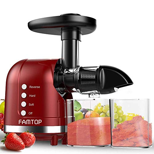 FAMTOP Slow Masticating Juicer Extractor with Reverse Function Quiet Motor Cold Press Machine Higher Yield from Fruit and Vegetable Easy to Clean, Red (Best Slow Masticating Juicer)