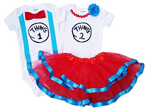 Boy Girl Twin Outfits Thing 1 and Thing 2 Tutu USA Made Outfit (9M Short, Boy Thing 1 Girl Thing -
