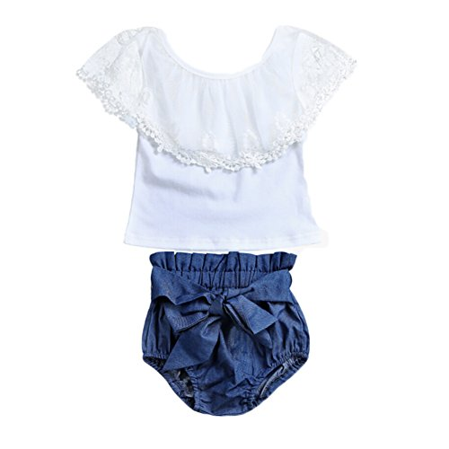 2pcs Toddler Baby Girls Lace Shirt Tops+Bowknot Denim Shorts Outfit Clothes 4T (18-24 Months, White)