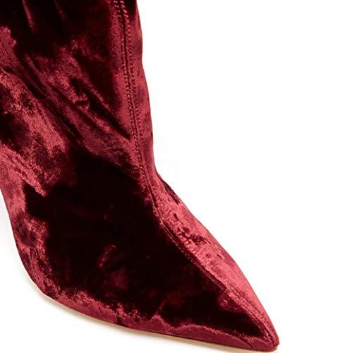 Donna A Red Velluto Spillo Vino Calzini Rosso Punta Shiney Tacchi Moda Stivali H7qdxH