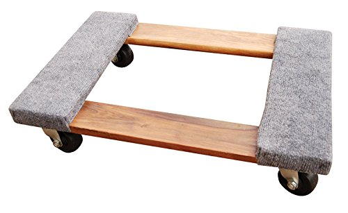 Vestil HDOC 1624 9 Hardwood Dolly with Carpet End 900 lbs Capacity 24 Length x 16 Width x 5 3 4 Height Deck