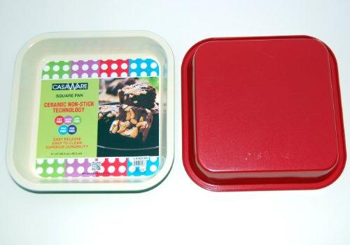 casaWare Ceramic Coated NonStick 8-Inch Square Pan (Cream/Red)